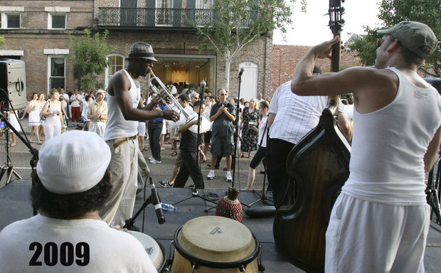 The Latin band Otra plays for the crowd at White Linen Night in New Orleans, La., Saturday, August 1, 2009.