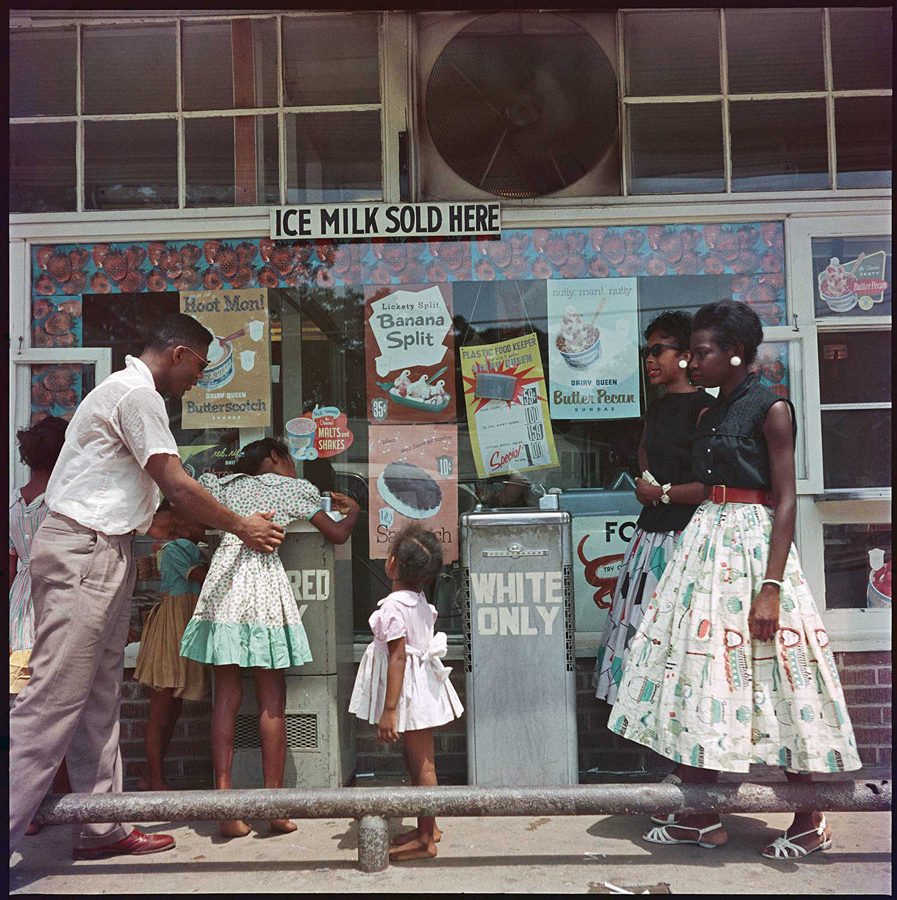 At Segregated Drinking Fountain, Mobile, Alabama, 1956, 2013. Archival pigment print. 28 x 28 inches. © The Gordon Parks Foundation