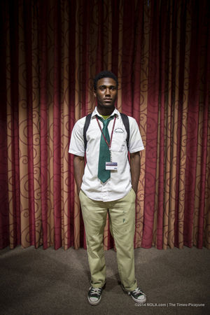 Leonard Galmon, a NOCCA and Cohen College Prep senior who grew up around the C.J. Peete housing projects, will be going to Yale next year. He was photographed at a reception at the end-of-year art show at NOCCA on Thursday, May 8, 2014. (Photo by Chris Granger, Nola.com   The Times-Picayune)