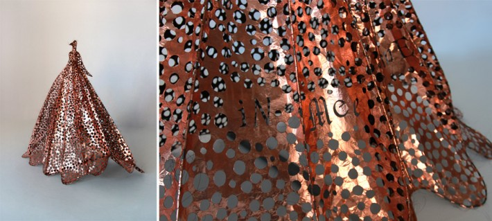 Lesley Dill, Copper Bird Little, 2014, Copper, wire and organza on metal armature, 47 x 54 x 34 inches