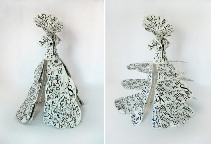 Lesley Dill, Gown of Blueprint, 2014, Hand-painted metal with oil paint on metal armature, 78 x 58 x 58 inches (closed) 78 x 67 x 69 inches (open)