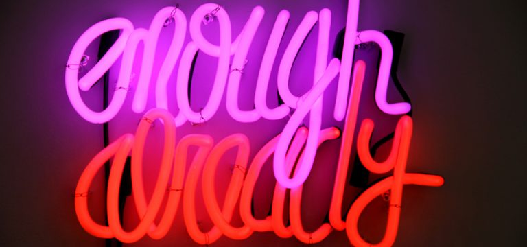 Enough Already, 2012. Neon, transformers. 14 x 18 1/2 inches.