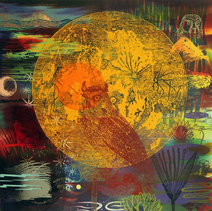 """Francis Pavy: Night Flier, 2014. Oil and block prints on canvas. 19"""" high."""
