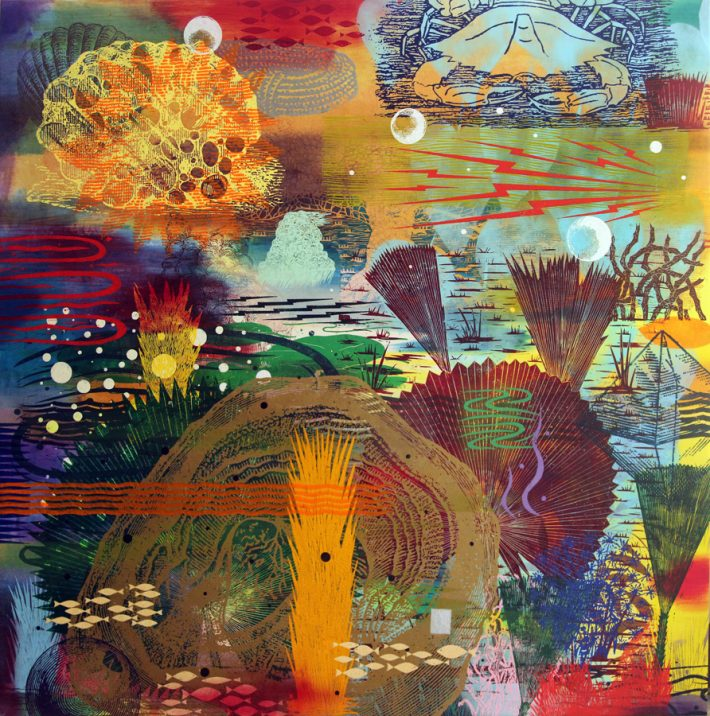 """Francis Pavy: Secret Oyster Bed, 2014. Oil and block prints on canvas. 72"""" high."""