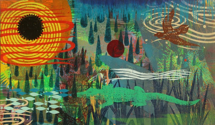 """Francis Pavy: Tears of a Small Sun, 2014. Oil and block prints on canvas. 24"""" high."""