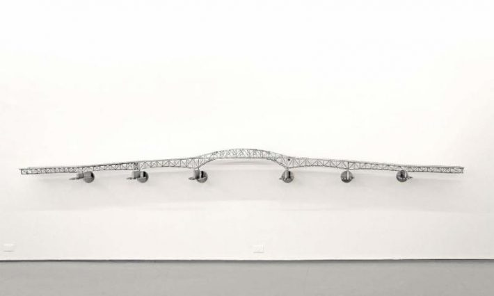 Alexandre Arrechea, Last Days of Champlain, 2012, stainless steel, 14 1/2 x 188 1/2 x 12 inches, MagnanMetz Gallery