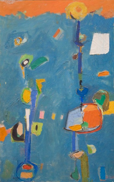 Flowers, 1957. Mixed media on canvas, 48 x 30 inches.