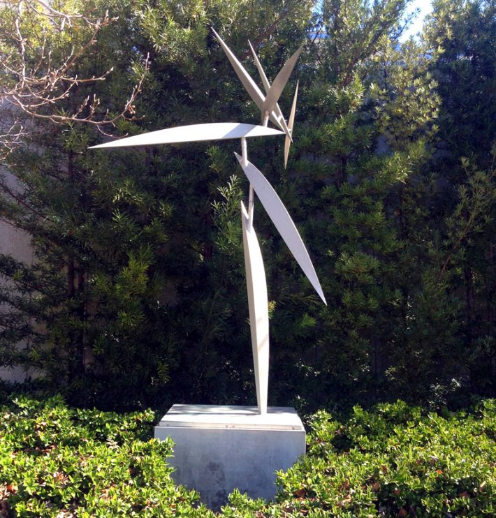"""Lin Emery, """"Anthem,"""" 1983, polished aluminum, H. 9-feet. Photo courtesy of the Louisiana Division of the Arts/Office of Culture, Recreation and Tourism."""