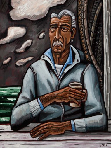David Bates   The Fisherman, 2013   Oil on panel 48 x 36 inches