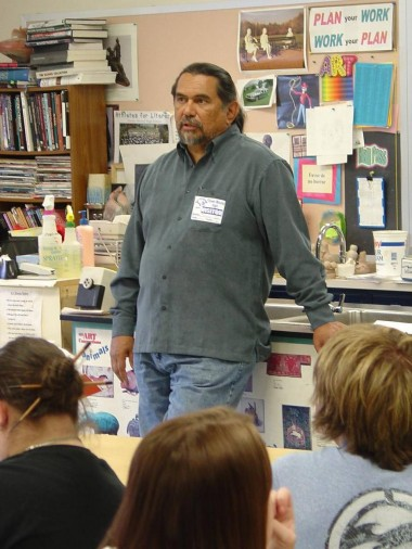 """Jesús Moroles spoke to area students at Flower Mound High School. He described his work as """"a discussion of how man exists in nature and touches nature and uses nature."""" [File 2005}"""