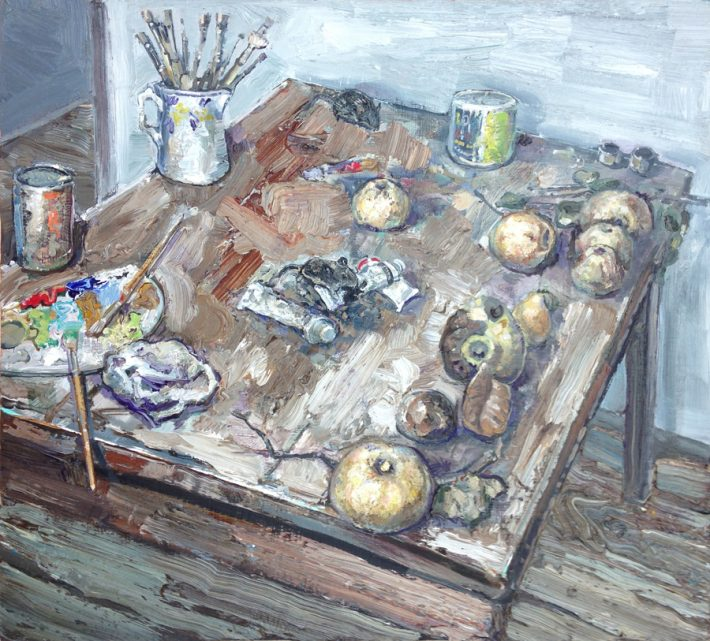 "Amer Kobaslija: Still Life with Paint and Quinces (Balthus' Table), 2010. Oil on panel, 12 ½"" high."