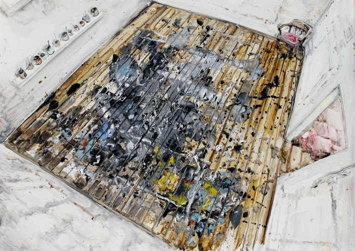 "Amer Kobaslija: Studio Floor (J. Pollock, E. Hamptons), 2014. Oil on Plexiglas, 12"" high."