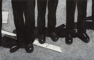 Police Mourn a Fallen Comrade, 2015, Charcoal and acrylic on paper, 34 x 53 inches