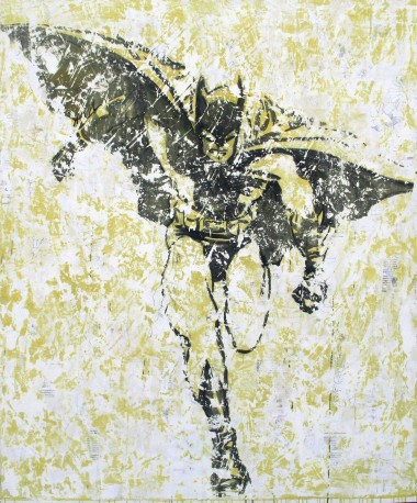 Nicole Charbonnet, Batman. 2008, acrylic, plaster and paper on canvas. 72 x 60 inches.