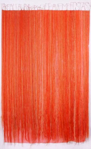 Lesley Dill, Red Thread Fall. 2003, thread, mixed media. 92 x 56 inches.