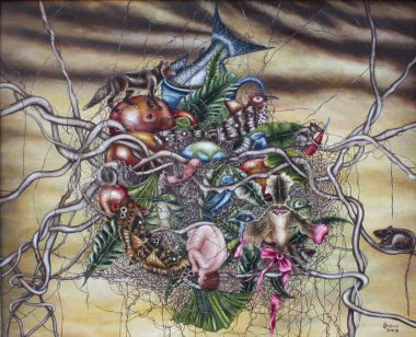 "Jacqueline Bishop, ""Edge"", 2008. Oil on Belgian linen. 13.5 × 16.5""."