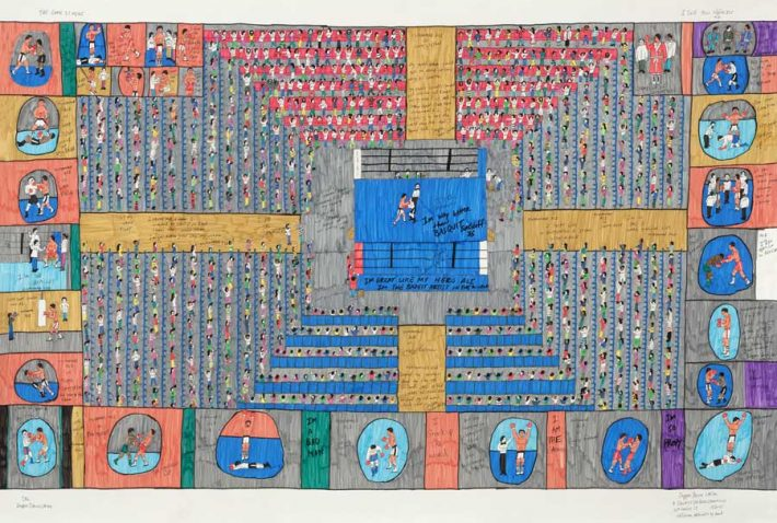 Davenport, Jr.: I'm Way Better than Basquit Sure Nuff I, 2015. Pen and marker on paper, 42 x 62 inches.