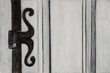 Willie Birch: Door Hinge, 2015. Charcoal and acrylic on paper, 12 x 18 inches.