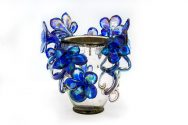 Silvered Venetian with Lapis Flowers
