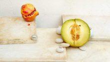 Half Melon and Pomegranate