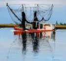 Red Boat with Black Nets