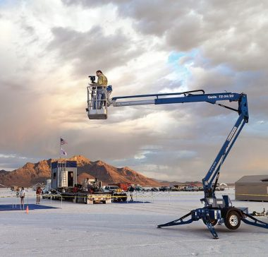 Edward Burtynsky, shooting from a crane, at Bonneville Salt Flats, Utah. Photo: Joseph Hartman