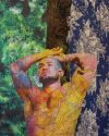 """Francois Sagat Tuileries Tree Paris (on Disney Princess, blue tiger, and navy """"History of Air"""" toile), 2016 