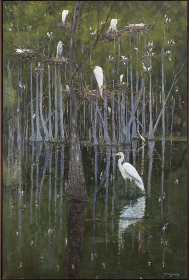 Simon Gunning, The Saline in Lavender and Green. Image courtesy of Ogden Museum of Southern Art. Photograph: Will Crocker