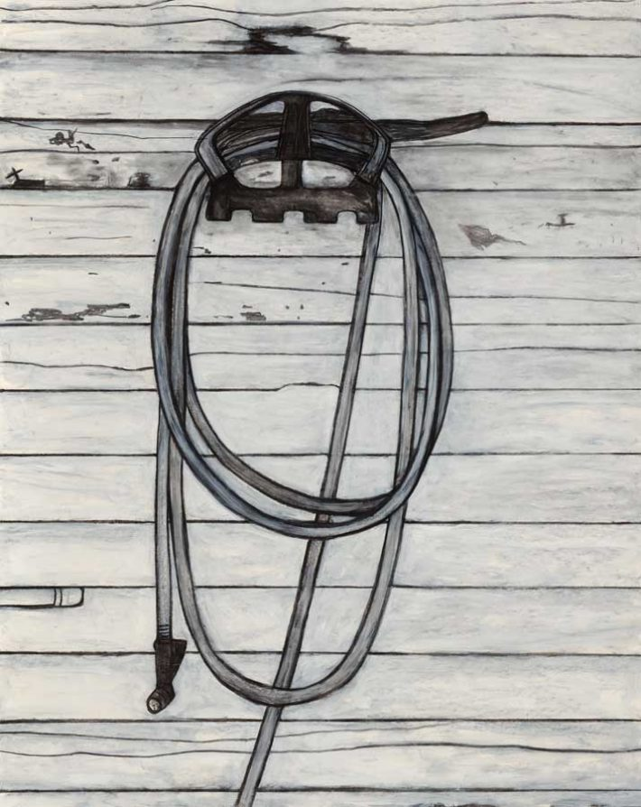 Willie Birch, Large Hose on Wall, 2013 | Charcoal and acrylic on paper | 60 x 48 inches