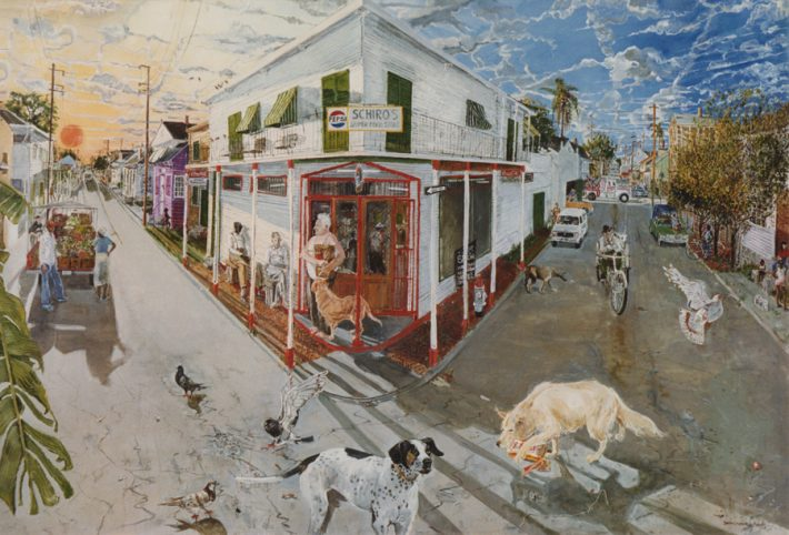Simon Gunning, Sundown at Schiro's, 1986. Oil on canvas, 66 x 96 inches.