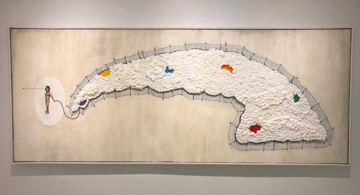 """Luis Cruz Azaceta, """"Exiled 50"""" (2009), acrylic, cotton, pencil, shellac on canvas, 60 x 144 in"""