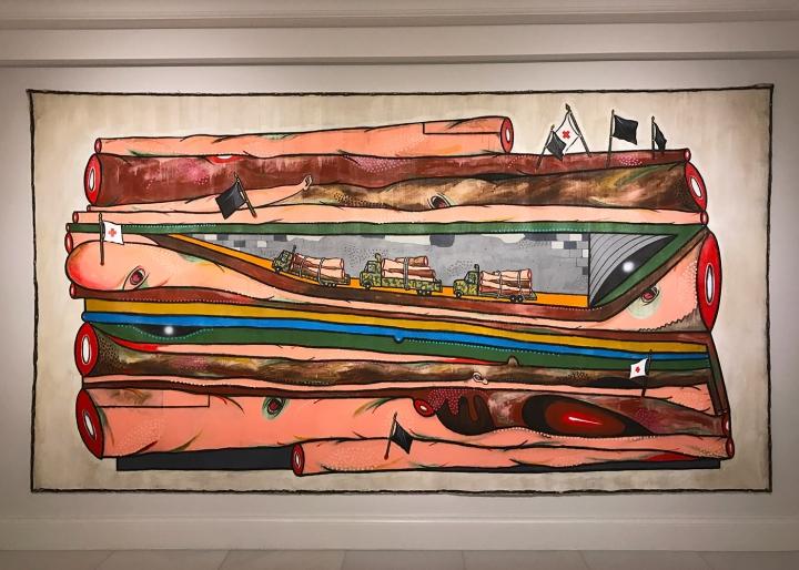 "Luis Cruz Azaceta, ""Slaughter"" (2010), acrylic on canvas, 84 x 156 in"